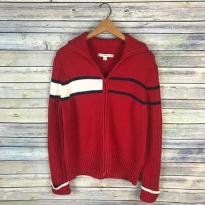 Tommy Hilfiger Red Navy Classic Stripe Zip Sweater